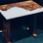 oak and white resin river table