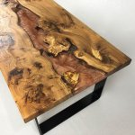 wood and resin table with copper resin