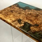 resin table with blue resin and rose gold