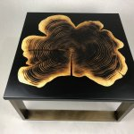 burnt wood and resin coffee table