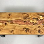 river coffee table with copper resin